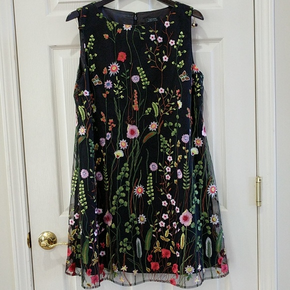 7c152ae2a913 Tahari Dresses   Asl Embroidered Floral Mesh Dress   Poshmark